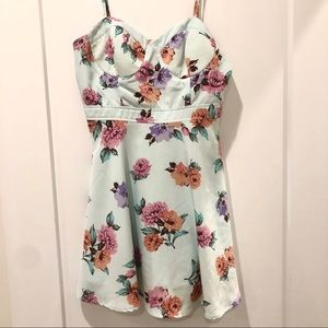 Forever 21 Trendy Floral Fit and Flare Dress Small